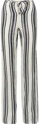 Tory Burch Awning Tie-front Striped Linen Wide-leg Pants - Navy