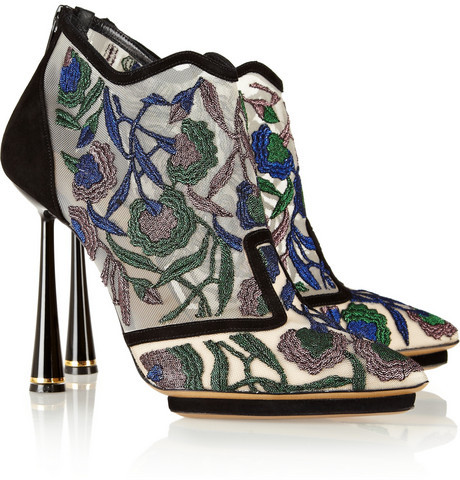 Nicholas Kirkwood Belle Epoque embroidered mesh and suede ankle boots