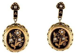 14K Diamond & Enamel Flower Earrings