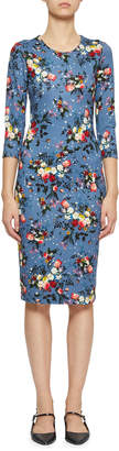 Erdem Allegra 3/4-Sleeve Floral Sheath Dress