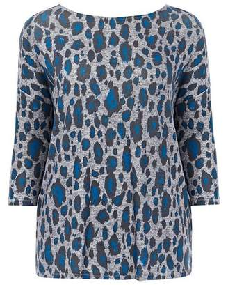 Evans Blue Animal Print Soft Touch Top