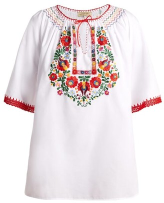 Muzungu Sisters - Eva Embroidered Cotton Top - Womens - White Multi