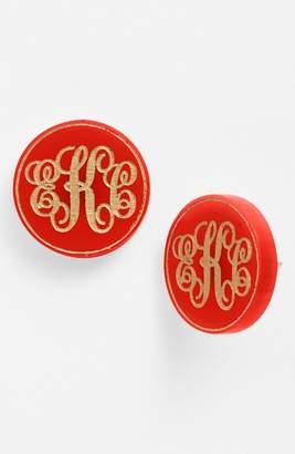 Moon And Lola Chelsea Medium Personalized Monogram Stud Earrings