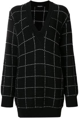 Balmain grid pattern v-neck sweater