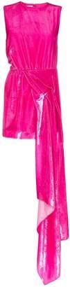 Halpern Dropped waist hi-sheen mini dress