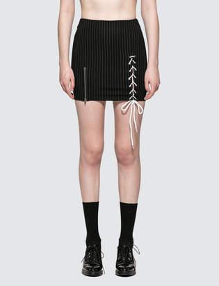 Danielle Guizio Pinstripe Lace Up Zip Skirt