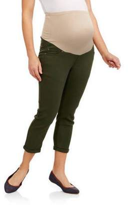 Oh! Mamma Maternity Full Panel Stretch Twill Skinny Capri with 5 Pockets and Roll Cuffs--Available in Plus Size