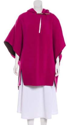 Halston Hooded Felted Poncho
