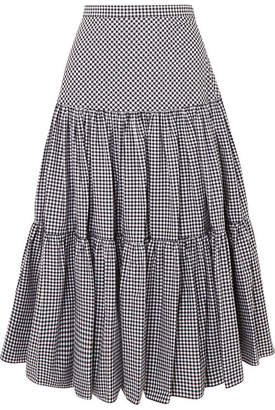 Michael Kors Tiered Gingham Cotton-poplin Maxi Skirt - Black