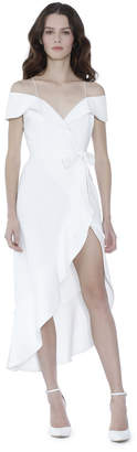Alice + Olivia Josie Off Shoulder Ruffle Wrap Dress
