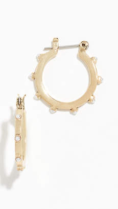 Luv Aj Mini Bezel Cultured Pearl Hoop Earrings