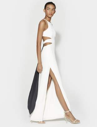 Halston HIGH NECK TIE BACK GOWN WITH CUT OUTS