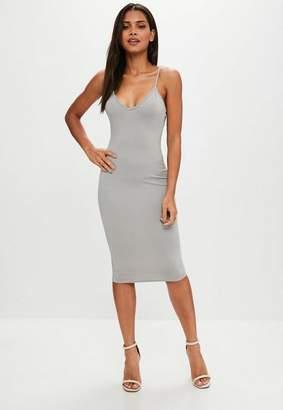 Missguided Grey Cami Strap Bodycon Midi Dress