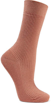 Maria La Rosa Metallic Ribbed-knit Socks - Bronze