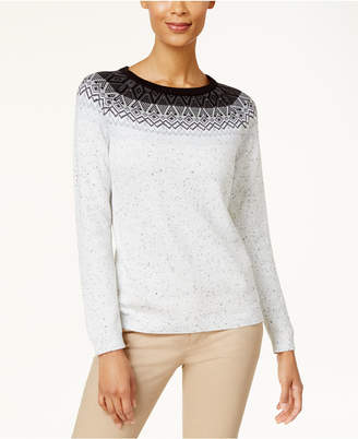Karen Scott Patterned Yoke Sweater