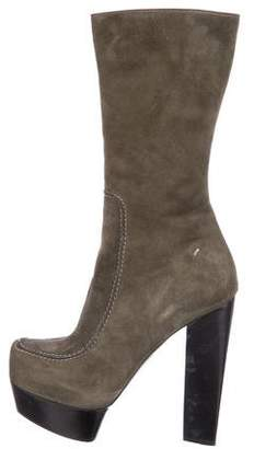 CNC Costume National Suede Mid-Calf Platform Boots
