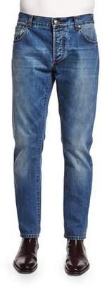 Isaia Five-Pocket Washed Denim Jeans, Blue