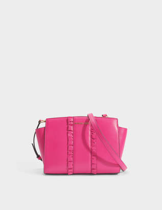 MICHAEL Michael Kors Selma Medium Messenger with Ruffles Bag in Ultra Pink Polished Leather