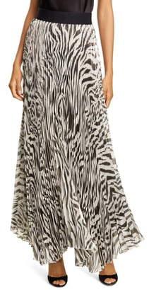 Alice + Olivia Katz Animal Print Pleated Silk Blend Maxi Skirt