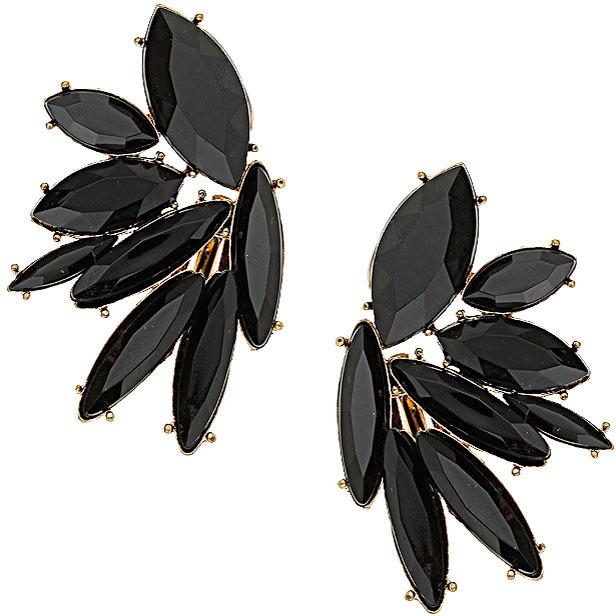Topshop Jet Stone Flower Earrings