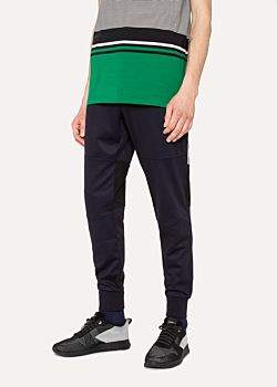 Paul Smith Men's Navy Cotton-Blend Panelled Sweatpants