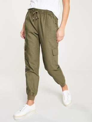 Very Linen Shirred Jogger with Cargo Pockets - Khaki
