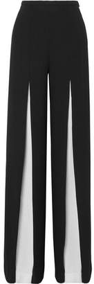 Roland Mouret Burton Two-tone Wool-crepe Wide-leg Pants - Black