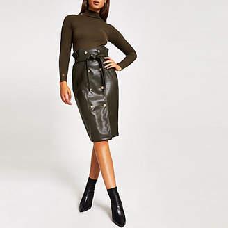 River Island Khaki faux leather paperbag midi skirt