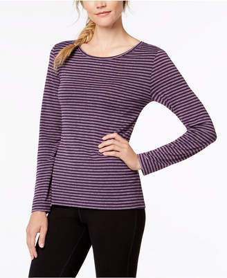 Ideology Striped Cutout-Back Long-Sleeve T-Shirt