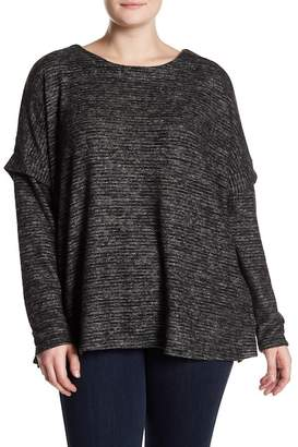 Bobeau Cozy Slub Stripe Sweater (Plus Size)