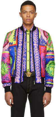 Versace Multicolor Silk Neon Bomber Jacket