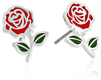 Disney Beauty and the Beast Belle Rose Plated Stud Earrings