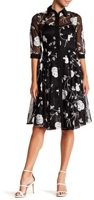 Gracia Embroidered Floral Mesh Dress