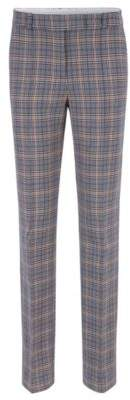 BOSS Hugo Relaxed-fit pants in a checkered stretch-cotton 4 Patterned