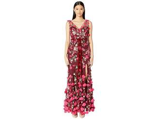 Marchesa V-Neck Embroidered Gown w/ 3D Chiffon Flowers