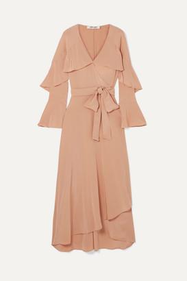 Diane von Furstenberg Isla Ruffled Silk Crepe De Chine Wrap Dress - Neutral