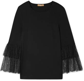 Michael Kors Lace-trimmed Stretch-jersey Top - Black