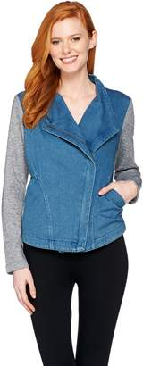Lisa Rinna Collection Denim Jacket with French Terry Sleeves