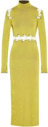 Proenza Schouler Lace-Up Ribbed-Knit Maxi Dress