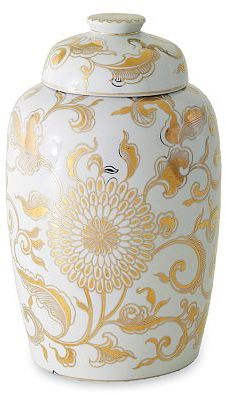 Gold & White Lidded Melon Ginger Jar