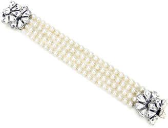 Ben-Amun Ben Amun Four-Row Pearly Beaded Fan-Motif Bracelet