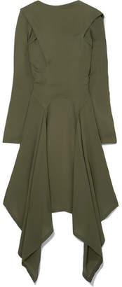 J.W.Anderson Asymmetric Silk-georgette Midi Dress - Army green