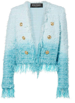Balmain Fringed Ombré Tweed Jacket - Blue
