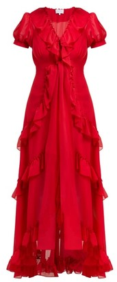 Luisa Beccaria Ruffle Trimmed Chiffon Dress - Womens - Burgundy