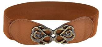 Unique Bargains lady Brown Interlock Buckle Style Textured Elastic Waist Cinch Belt