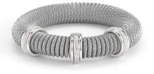 Alor Kai 18K White Gold & Stainless Steel Diamond Coiled Bangle Bracelet