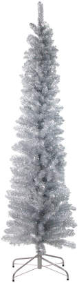 Northlight Silver Tinsel Artificial Pencil Christmas Tree