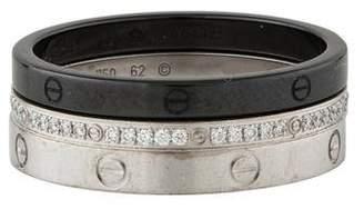 Cartier Diamond & Ceramic LOVE Ring Set