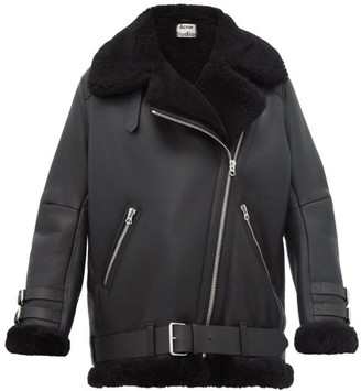 Acne Studios Velocite Leather And Shearling Aviator Jacket - Womens - Black