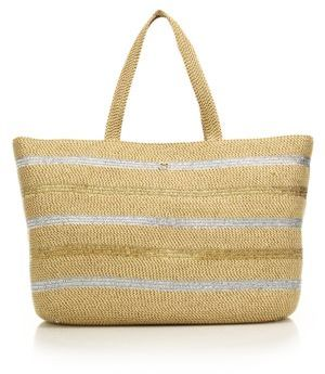 Eric Javits Sinclair Striped Metallic Woven Squishee Tote $450 thestylecure.com